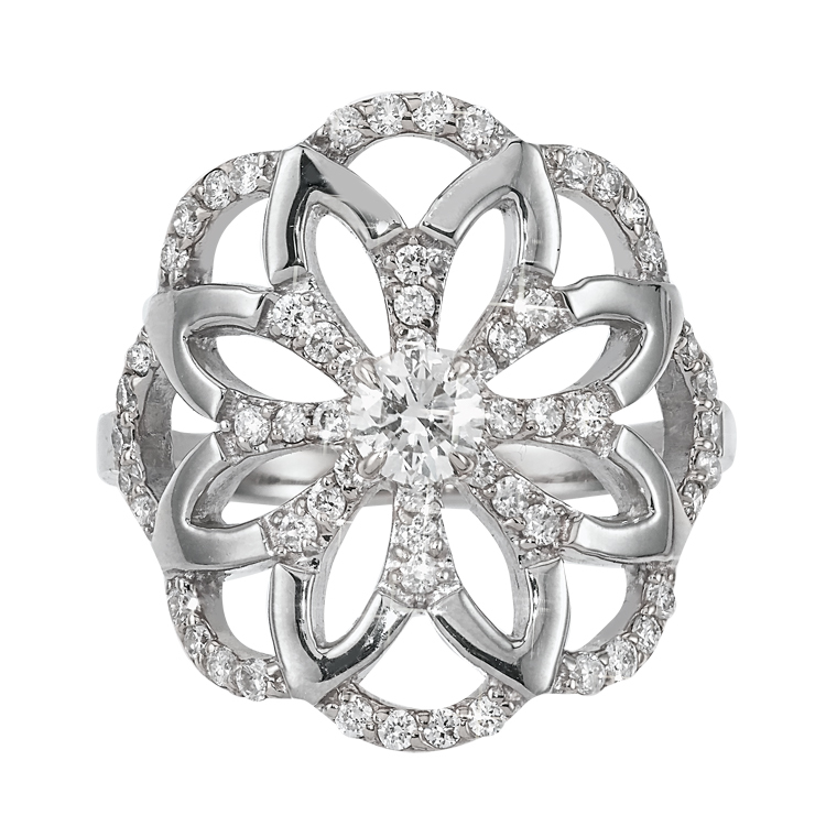 Sophia Flower Ring in White Gold